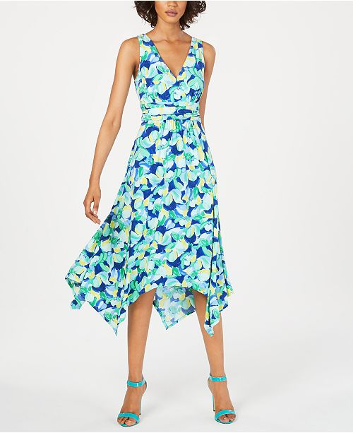 Pappagallo Printed Handkerchief-Hem Dress