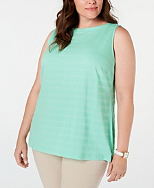 Plus Size Cotton Textured-Stripe Boat-Neck Top, Created for Macy's