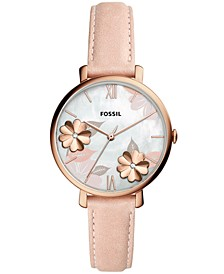 Women's Jacqueline Playful Floral Pink Leather Strap Watch 36mm