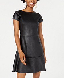 Juniors' Textured Faux-Leather Skater Dress, Created for Macy's