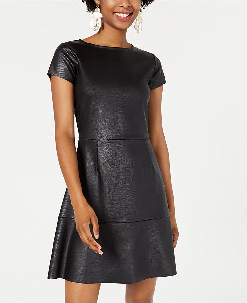 Rosie Harlow Juniors' Textured Faux-Leather Skater Dress, Created for Macy's
