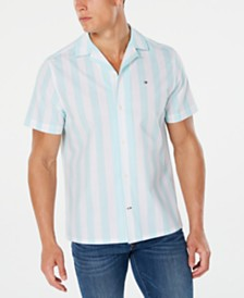 Tommy Hilfiger Men's Abner Stripe Camp Collar Shirt