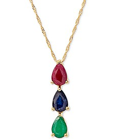 "Multi-Gemstone 18"" Pendant Necklace (1-3/8 ct. t.w.) in 14k Gold"
