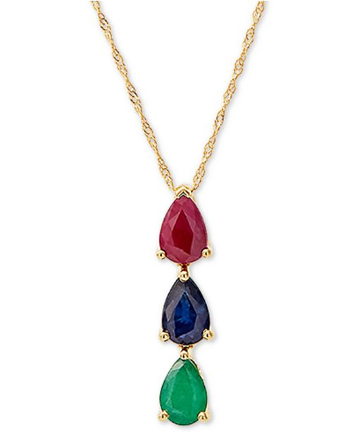 "Macy's Multi-Gemstone 18"" Pendant Necklace (1-3/8 ct. t.w.) in 14k Gold"
