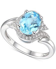 Blue Topaz (2 ct. t.w.) & Diamond (1/5 ct. t.w.) in 14k White Gold