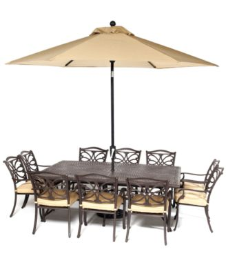 CLOSEOUT Kingsley Outdoor Cast Aluminum 11Pc Dining Set 84 x