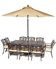 """CLOSEOUT! Kingsley Outdoor Cast Aluminum 11-Pc. Dining Set (84"""" x 60"""" Dining Table and 10 Dining Chairs), Created for Macy's"""