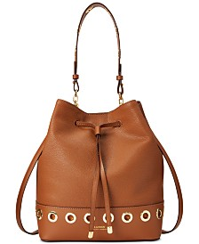 Lauren Ralph Lauren Debby Grommet Leather Bucket Bag