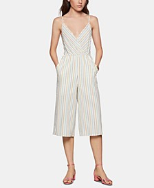 Striped Surplice Cropped Jumpsuit