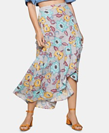 BCBGeneration Tropical-Print Midi Skirt