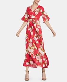 BCBGMAXAZRIA Floral-Print Faux-Wrap Maxi Dress