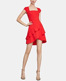 BCBGMAXAZRIA Asymmetrical-Hem Fit & Flare Dress