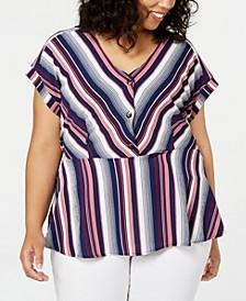 Trendy Plus Size Striped Peplum Top