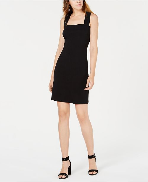 Bar III Square-Neck Crisscross-Back Dress, Created for Macy's