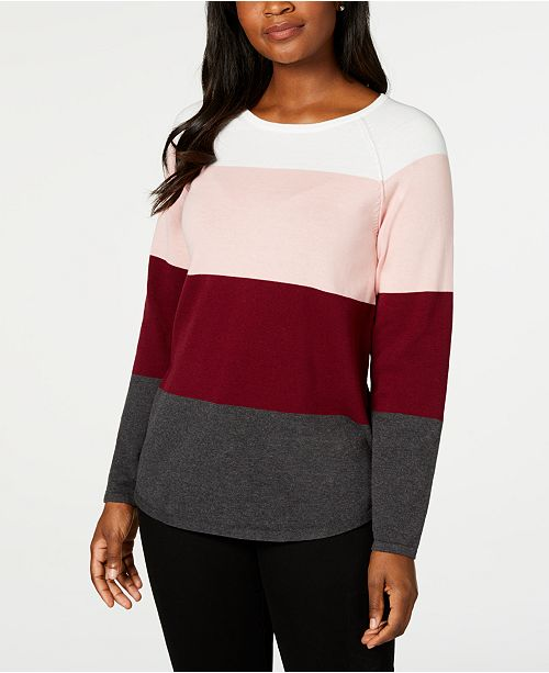 Karen Scott Colorblocked Pullover Sweater, Created for Macy's