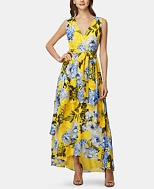 Tahari ASL Floral-Print High-Low Dress