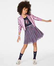 Big Girls Metallic Bomber Jacket & Belted Unicorn Dress