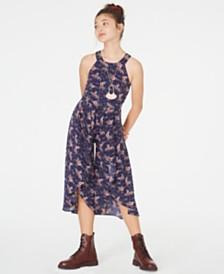 Beautees Big Girls Floral-Print Jumpsuit & Necklace