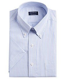 Men's Classic/Regular-Fit Stretch University Stripe Short Sleeve Dress Shirt, Created for Macy's