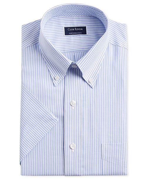 Club Room Men's Classic/Regular-Fit Stretch University Stripe Short Sleeve Dress Shirt, Created for Macy's