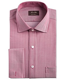 Men's Classic/Regular-Fit Non-Iron Supima Cotton Herringbone Solid French Cuff Dress Shirt, Created for Macy's