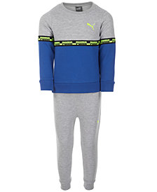 Puma Little Boys 2-Pc. Colorblocked Sweatshirt & Pants Set