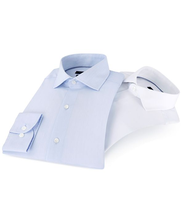 Tommy Hilfiger Men's Classic/Regular Fit Non-Iron Performance Stretch Solid Dress Shirt