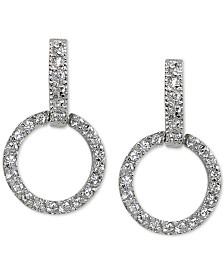 Giani Bernini Cubic Zirconia Doorknocker Drop Earrings in Sterling Silver, Created for Macy's