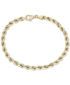 Diamond Rope Chain Bracelet in 10k Gold