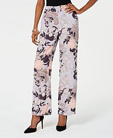Nine West Floral-Print Pull-On Pants