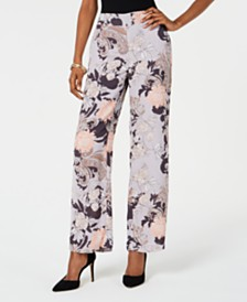 Nine West Floral-Print Pull-On Pants