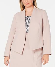 Nine West Plus Size Open-Front Crepe Jacket