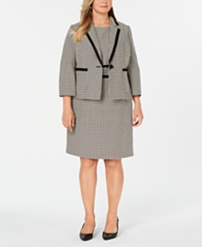 Kasper Plus Size Printed Jacket & Sheath Dress