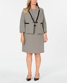 Kasper Plus Size Printed Jacket & Sheath Dress