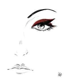 Crimson Eyeshadow Portrait Metal Wall Art Print