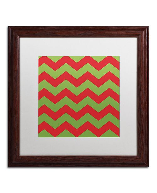 "Trademark Global Color Bakery 'Xmas chevron 9' Matted Framed Art - 16"" x 16"""