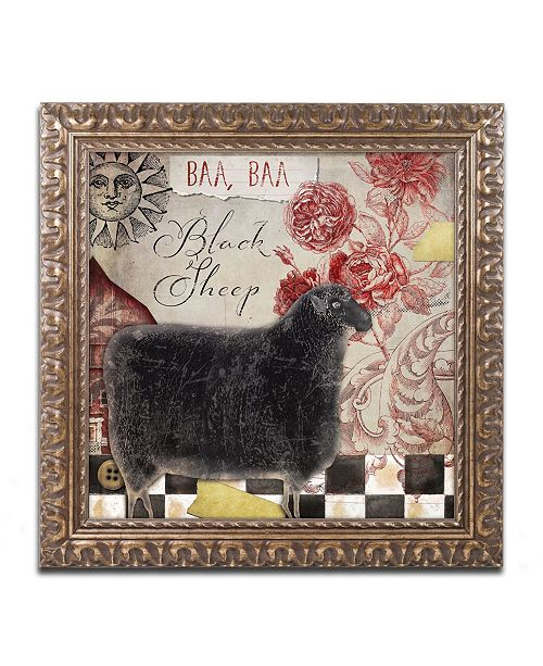 "Trademark Global Color Bakery 'Baa Baa Black Sheep' Ornate Framed Art - 11"" x 11"""