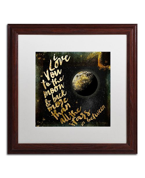 """Trademark Global Color Bakery 'Moon and Back I' Matted Framed Art - 16"""" x 16"""""""