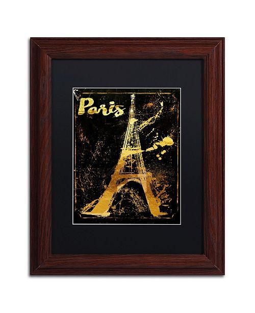 "Trademark Global Color Bakery 'Gold Eiffel' Matted Framed Art - 11"" x 14"""