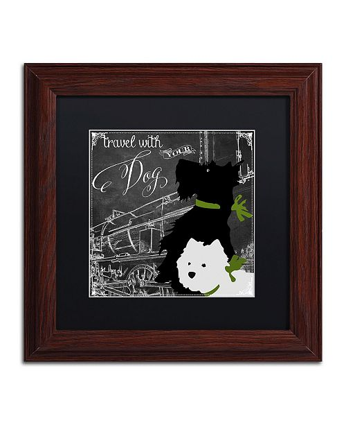 "Trademark Global Color Bakery 'Travel With Your Dog' Matted Framed Art - 11"" x 11"""