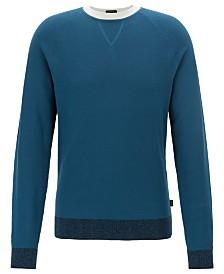 BOSS Men's Javio Knitted Contrast Italian Cotton Sweater