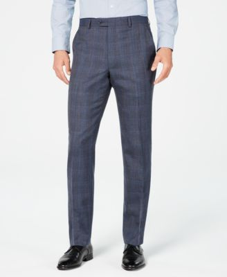 Men's Classic-Fit Airsoft Stretch Blue Plaid Suit Pants