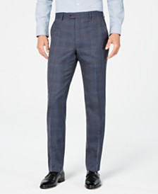Michael Kors Men's Classic-Fit Airsoft Stretch Navy Plaid Suit Pants