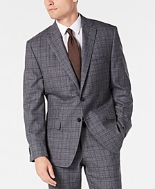 Men's Classic-Fit Airsoft Stretch Gray/Blue Plaid Suit Jacket