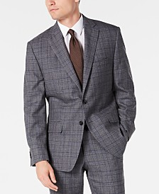 Michael Kors Men's Classic-Fit Airsoft Stretch Gray/Blue Plaid Suit Jacket