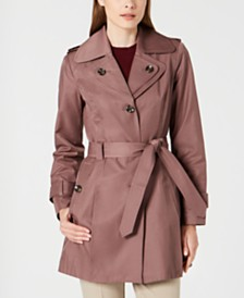 London Fog Petite Belted Hooded Trench Coat, Created for Macy's