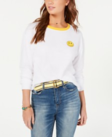 Rebellious One Juniors' Cotton Smiley Top
