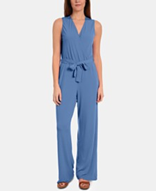 NY Collection Petite Surplice Wide-Leg Jumpsuit