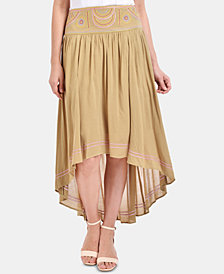 NY Collection High-Low Embroidered Waist Skirt