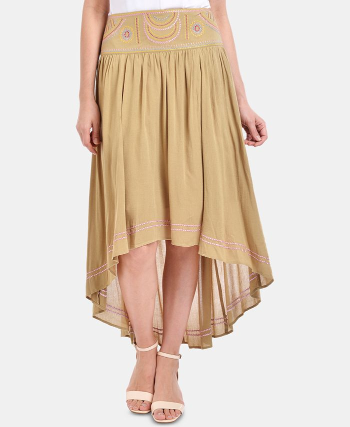 NY Collection - High-Low Embroidered Waist Skirt